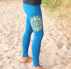 b404b0d72c Items similar to Libra Leggings: Skirted Yoga Pants with Sri Yantra  Screenprint. Fitted yoga pants with fold over skirt waist. Organic Cotton  Blend Jersey. ...