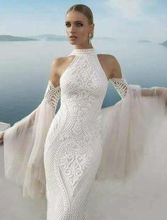 Inna Erten white maxi lace wedding dress, women fashion outfit ...