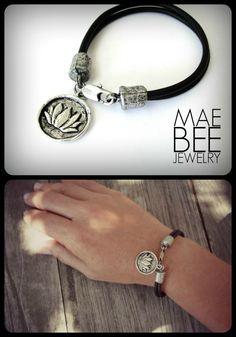Pewter Lotus Bracelet on Double black leather from JewelryByMaeBee on #Etsy. #sfetsy www.jewelrybymaebee.etsy.com