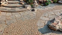 Techo-Bloc Stone in NJ: 4 Unexpected Designs Paver Path, Concrete Pavers, Paving Stones, Front Yard Landscaping, Patio Design, Lawn And Garden, Natural Stones, Maya, Backyard