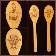 Phyrography. .. best friends spoons... spoonge bob&patrick...