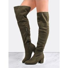 Thigh High Block Heel Boots OLIVE ($42) ❤ liked on Polyvore featuring shoes, boots, green, wide thigh high boots, green thigh high boots, almond toe boots, mid-heel boots and green military boots