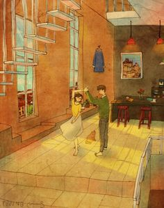 """Artist """"Puuung"""" shows that true love is all the little moments in a relationship. The illustrations show how day to day interactions are important and serve as a reminder to not forget the small things. Art And Illustration, Illustration Mignonne, Illustrations, Real Love, Love Is Sweet, What Is Love, True Love, Puuung Love Is, Art Amour"""