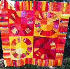 QUILT FOR SALE-Red yellow orange NYB top 45x45  Freemotion quilted spirals and wiggly lines  Jenn-Alabama