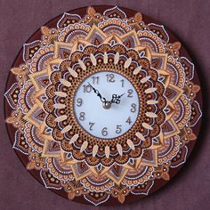 "Wall clock ""The Sun"". Hand-painting."