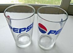 Vintage Pepsi Cola Glass Set 2 Globe Design 8 oz Small Tumblers Red White Blue…