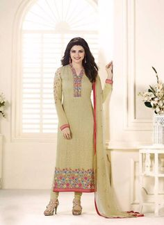 Yellow Straight Cut Georgette Party Dress Material with Chiffon Dupatta
