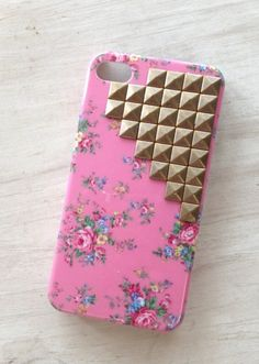 pink floral print studded iPhone case, fashion golden rivet wild flower iPhone case #floral #print #studded #iPhone #Case www.loveitsomuch.com