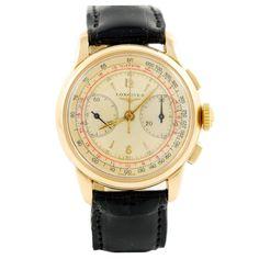 LONGINES Pink Gold Chronograph Wristwatch circa 1950s