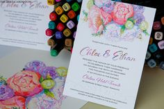 Invitation card with peony flower