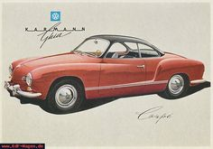 Karmann Ghia postcard, 1957. Illustration: Bernd Reuters