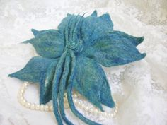 lily of woolbarrette  lily for hair turquoise от makoshawool