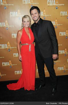 LUKE BRYAN....here's a suit Suzan! And his beautiful wife...that bitch!