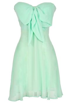Oversized Bow Chiffon Dress - love mint!