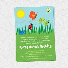 Bug Insects Birthday Party Invitations, Summer, Butterfly, Bee, Beetle, Caterpillar, Lady Bug, Boy or Girl, SET OF 10