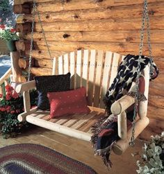 What could be more complimentary to an entryway patio than a wooden porch swing? Bring back the charitableness of times past. A porch swing can add a dash of sentimentality to the front of your home. Cedar Furniture, Log Cabin Furniture, Rustic Furniture, Outdoor Furniture, Furniture Decor, Patio Swing, Porch Swings, Swing Seat, Lawn Swing