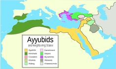 Map of the Ayyubid empire and the surrounding empires in the 12th century.