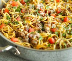 ingredients     8 ounces spaghetti   1-1/4 pounds lean ground beef or ground turkey   1 (1-oz) package taco seasoning   2/3 cup water   1 can (10.75-oz) cream of chicken soup   1 can (10-oz) can R-otel diced tomatoes with