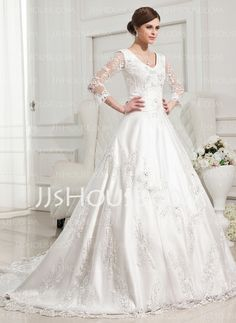 Wedding Dresses - $172.29 - Ball-Gown V-neck Chapel Train Satin Tulle Wedding Dresses With Lace Beadwork (002012846) http://jjshouse.com/Ball-Gown-V-Neck-Chapel-Train-Satin-Tulle-Wedding-Dresses-With-Lace-Beadwork-002012846-g12846