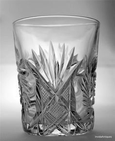 Antique ABP American Brilliant Cut Glass Whiskey High Ball TUMBLER Crosshatch