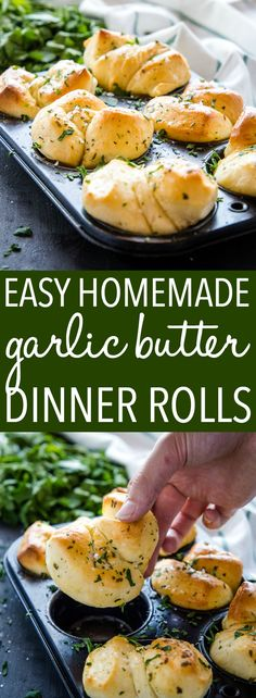 Easy Homemade Garlic Butter Dinner Rolls via These Easy Homemade Garlic Butter Dinner Rolls are the perfect for your Sunday dinner or holiday table! Made from simple dough, garlic butter and sea salt! Dinner Rolls Easy, Homemade Dinner Rolls, Dinner Rolls Recipe, Dinner Recipes, Easy Homemade Bread, Homemade Dinners, Easy Homemade Desserts, Quick Easy Dinner, Homemade Food