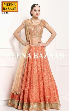 Orange Net Lehenga Choli @ MeenaBazaar