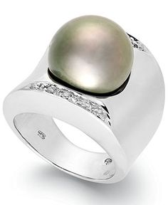 Tahitian Pearl (13mm) and Diamond (1/8 ct. t.w.) Ring in Sterling Silver - All Fine Jewelry - Jewelry & Watches - Macy's