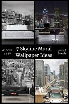 These 7 ideas for a skyline mural, as seen on TV, add a feeling of excitement and glam to your walls. Whether you're planning a New York bedroom theme or a Golden Gate Bridge bedroom, you'll get inspired here! See cityscape wallpaper from NYC, Manhattan, Montreal and Chicago. Photo murals are all printed on removable wallpaper. New York Bedroom, Cityscape Wallpaper, Photo Mural, Bedroom Themes, All Print, Golden Gate, Montreal, Wall Murals, Manhattan