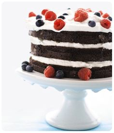 Ingredients:  1 box DCD Chocolate Baking Mix  2 large eggs, at room temperature  ½ cup hot water  1½ cups heavy cream  3 tablespoons sugar  1 tablespoon vanilla extract  1 packet DCD Spiced Chai Tea  1 pint raspberries  1 pint blueberries  Directions:  1. Preheat oven to 350°F. Spray three 6-inch cake pans with non-stick cooking spray.  2. Prepare cake mix as directed. Pour cup of batter into each pan, and tap pan on the counter gently to even the batter. Bake for 12-15 minutes, until a…