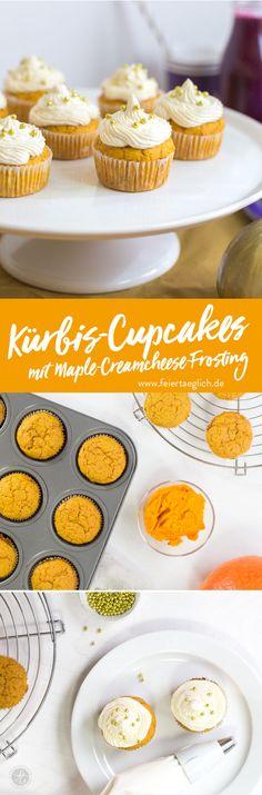 Kürbis-Cupcakes mit Maple-Creamcheese-Frosting für den Sweet Table der Goldenen-Herbst-Party #happymottoparty – feiertäglich…das schöne Leben What You Eat, Frosting, Cereal, Pancakes, Sweets, Cookies, Baking, Breakfast, Food