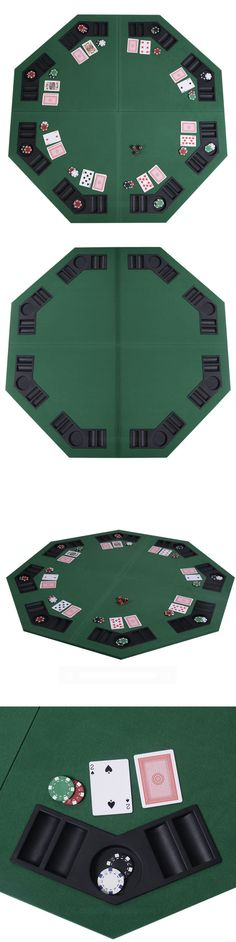 Card Tables And Tabletops 166572: Padded Octagon Folding Poker Table Top W  Cup Holders In Blue [Id 59344]  U003e BUY IT NOW ONLY: $103.24 On EBay!