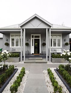 Front Yards Welcoming front yard garden - Expert tips on how to transform your front garden to create curb appeal and welcome visitors. House Paint Exterior, Exterior House Colors, Exterior Design, Cottage Exterior, Grey Exterior Houses, House Ideas Exterior, Simple House Exterior, Bungalow Exterior, Exterior Homes