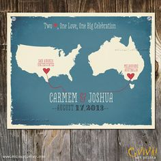 USA and Australia Custom Wedding Print - Geography Love Collection - 11x14 inches Customized Print. $40.00, via Etsy.