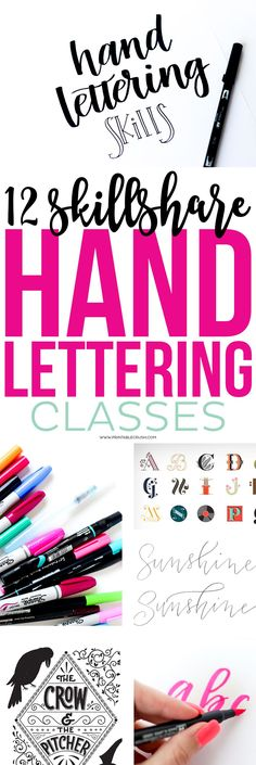 Check out these 12 Skillshare Classes that will help you improve your Hand Lette. Check out these 12 Skillshare Classes that will help you improve your Hand Lettering Skills! Hand Lettering For Beginners, Hand Lettering Tutorial, Hand Lettering Fonts, Creative Lettering, Handwriting Fonts, Brush Lettering, Lettering Styles, Calligraphy Tutorial, Script Fonts