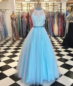 Blue High Neck Lace Tulle Long Prom Dress, Lace Prom Dress, Modest Prom Dress, Charming Prom Dress, Tulle Evening Dress by comigodress, $175.29 USD