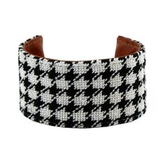 Houndstooth Needlepoint Cuff Bracelet by York Designs ($40) ❤ liked on Polyvore featuring jewelry, bracelets, cuff bracelet, leather jewelry, leather cuff bracelet, houndstooth jewelry and bangle cuff bracelet