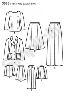 Simplicity 3688 Misses' & Plus Size Smart & Casual Wear Sewing Pattern