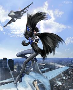 Bayonetta model by Planes by and Background composed of imagws by by and Pose and hair retouching by Check out her gallery Software used: Blender (Cycles), Photoshop CC, Paint.NET ...