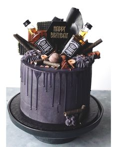 Birthday Cake For Husband 48 Ideas 30th Birthday Cakes For Men, Birthday Cake For Husband, Elegant Birthday Cakes, 21st Cake, 28th Birthday, Birthday Ideas, Tortas Deli, Jack Daniels Cake, Liquor Cake
