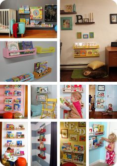different kids rooms with Ikea spice racks (BEKVÄM) used as bookshelves