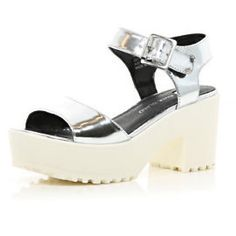 silver metallic cleated sole platform sandals
