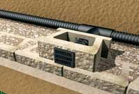 Vent drain through block face - Tons of information about building retaining walls. We will be requiring drain because ours will be 4 feet high and over 100 feet long for the drain. Each section of the retaining wall will be about 4' by 60' on a tiered hill.