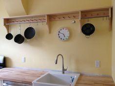 Maple & stainless pot rack for my kitchen, based on Shaker peg shelf