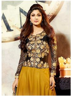 SV-KA0198 at JUST @ $67 Buy at http://www.shopvhop.com/product/dark-yellow-black-shilpa-shetty-designer-collection-6014/