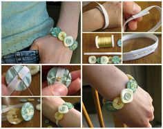Easy DIY Button Bracelet ( I am thinking that I could use other things instead of prefab buttons too) Diy Jewelry Projects, Jewelry Crafts, Kids Jewelry, Jewelry Ideas, Sewing Projects, Diy Projects, Diy Finger Knitting, Diy Jewelry Hanger, Fabric Bracelets