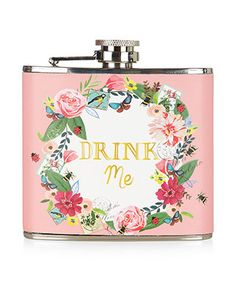 Make like Alice in Wonderland with this 'Drink Me' hip flask, printed with a flower wreath. A festival season essential.