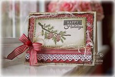 Handmade Christmas card by Andrea Ewen using the Pinecone Christmas set from Verve.  #vervestamps