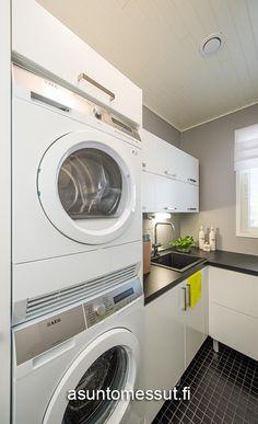 9 Kotitalo Tähkä - Kodinhoitohuone | Asuntomessut Washing Machine, Home Appliances, Laundry Rooms, Coin, Living Room, Petra, Bedroom, Interior, House