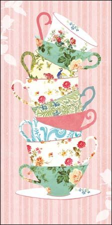 Greeting cards with design of a stack of teacups, striped background, using elements of wallpapers from @Evelyn Siqueira Siqueira Siqueira Siqueira Spencer Trust properties.