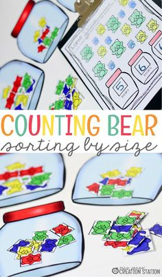 This counting bear activity can be used for small group or independent practice and math instruction. Using manipulatives is a great way to introduce new concepts to your students. So come grab this free printable sorting by size for your math center today. #freeprintable #printable #countingactivity #manipulatives #countingbears #sortbysize #sortingactivity #mrsjonescreationstation